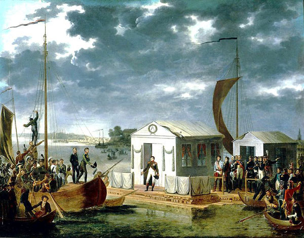 Встреча Наполеона I-го и Александра I-го на Немане 25 июня 1807 года
