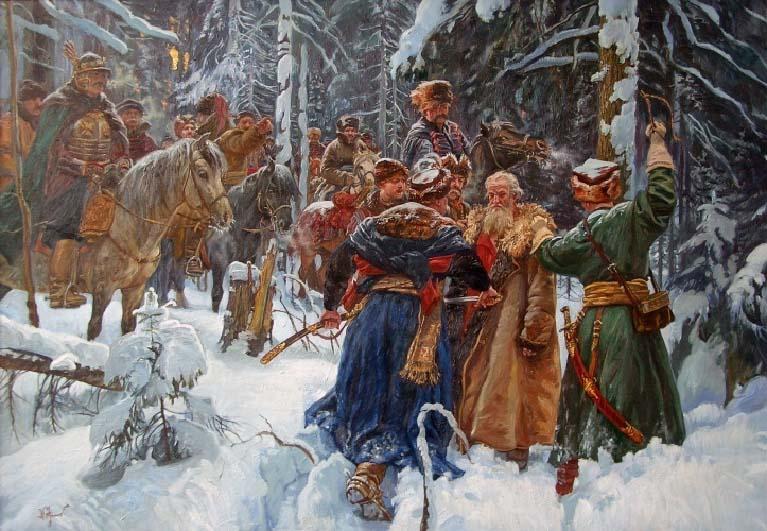 Костромской крестьянин Иван Сусанин, чтобы спасти жизнь новоизбранного 16-летнего царя Михаила Фёдоровича Романова, заводит отряд поляков в лес.