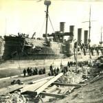 Постановка крейсера на ремонт.