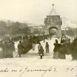 Войска готовятся к смотру в районе Триумфальной арки. 1901 год.