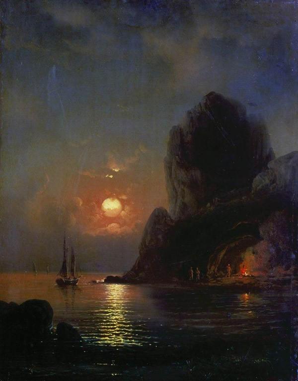 Алексей Боголюбов - Лунная ночь на море. 1871 г.