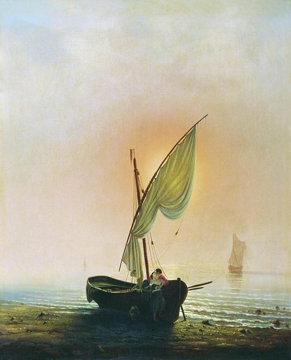 Алексей Боголюбов - Закат (Лодка с парусом у берега моря). 1857 г.