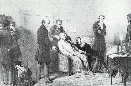 Анна Павловна у постели умирающего мужа. Гравюра середины 19 в.