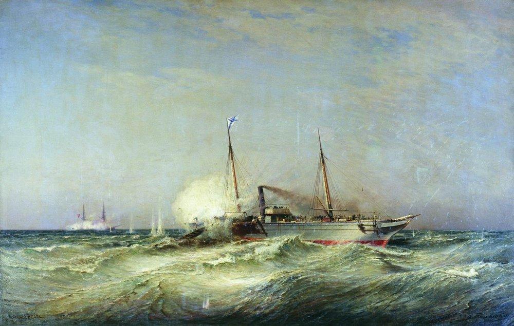 Боголюбов Алексей Петрович - Бой парохода Веста с турецким броненосцем Фетхи-Бутленд в Черном море 11 июля 1877 года.
