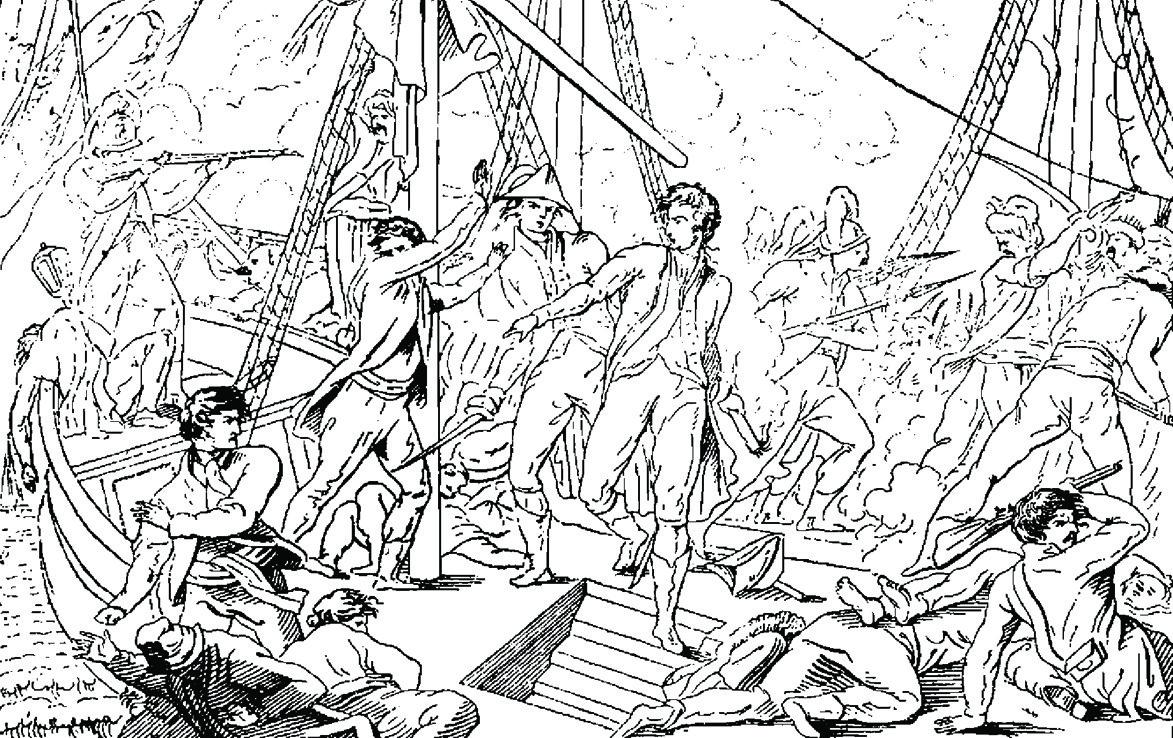 Подвиг капитана 2 ранга Рейнгольдта фон дер Остен-Сакена 20 мая 1788 г. Гравюра, сделанная по повелению императрицы Екатерины II