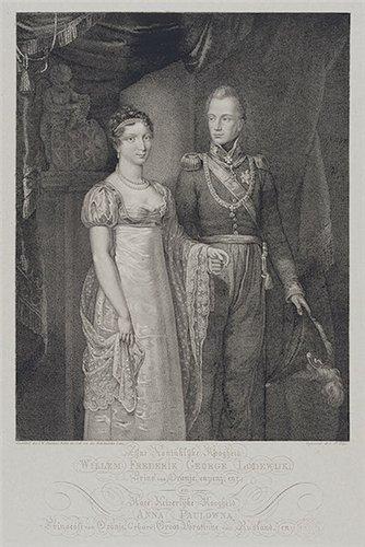 Велин П. Портрет принца Вильгельма Оранского с женой Анной Павловной. Гравюра  первая половина 19 в.