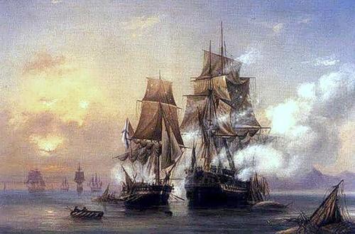 Захват коттером «Меркурий» шведского фрегата «Венус» 1789 г. Худ. А. П. Боголюбов. 1845 г.