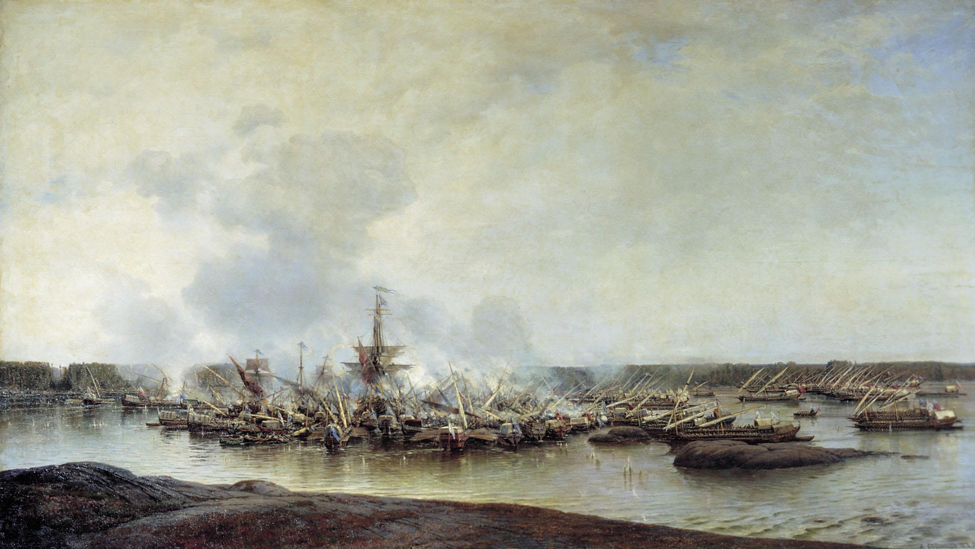 Картина Алексея Боголюбова «Сражение при Гангуте 27 июля 1714 года».