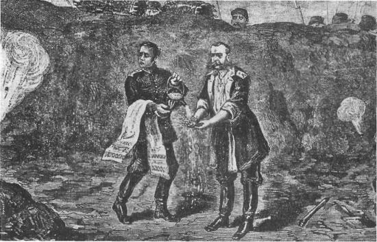 М.Д. Скобелев под Плевной. Утренний туалет. Рисунок времён русско-турецкой войны 1877-1878 гг.