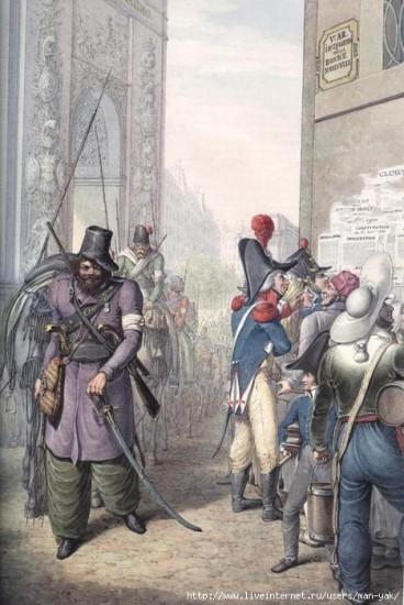 Отряд казаков проходит мимо Триумфальной арки.