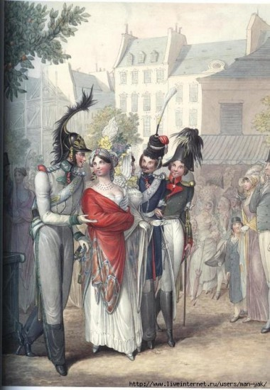Сценка на улице Парижа: австрийский офицер, казак и русский офицер прогуливаются с двумя парижанкам