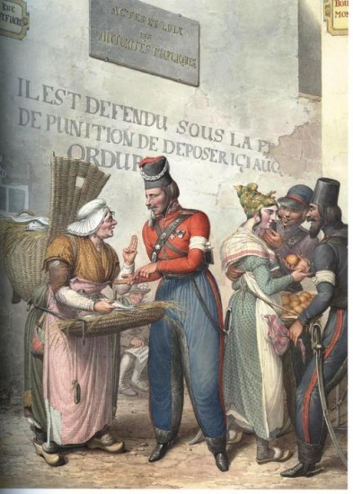 Уличная сценка: казаки и торговки рыбой и яблоками
