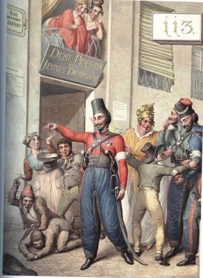 Русские казаки на улице «Rue des bons enfans»