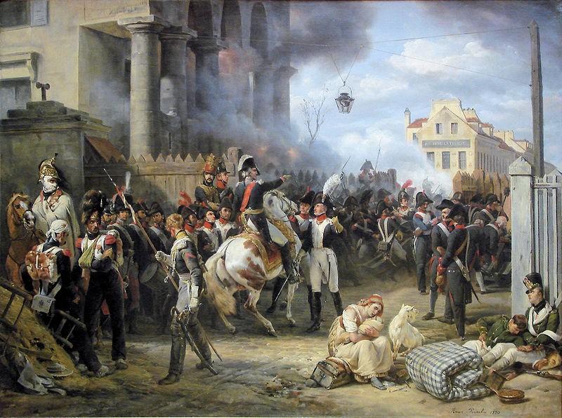 Оборона заставы Клиши в Париже в 1814. Картина О. Верне, который сам был участником обороны Парижа.