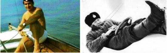 Слева – Вениамин Левицкий на яхте в Киевском море, лето 1975 года;  справа – олимпийский чемпион Виталий Дырдыра на буере, зима 1981 года.