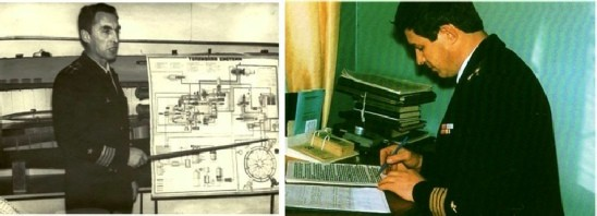 Старшие преподаватели кафедры ТУЖЭК:  слева – инженер-капитан 2 ранга Л.С. Григорьев, 1973 год;  справа – инженер-капитан 2 ранга Я.Г. Лемищенко, 1979 год.