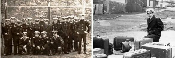 Стажировка группы курсантов выпускного курса на Северном флоте.  На левой фотографии – стоит третий справа инженер-капитан 3 ранга В. Левицкий;  на правой – в ожидании распределения выпускников по объектам стажировки.  Полярный, июнь 1971 года.