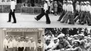 «..всё училище проходило парадным строем по улицам Киева, затем преподаватели и курсанты выстраивались на площадке перед могилой Неизвестного солдата.. (слева – фотография 1974 года, справа – 1980 года).