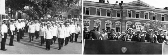 Слева – встреча Главнокомандующего Военно-морским флотом СССР,  адмирала флота Советского Союза С.Г. Горшкова; справа – на трибуне.