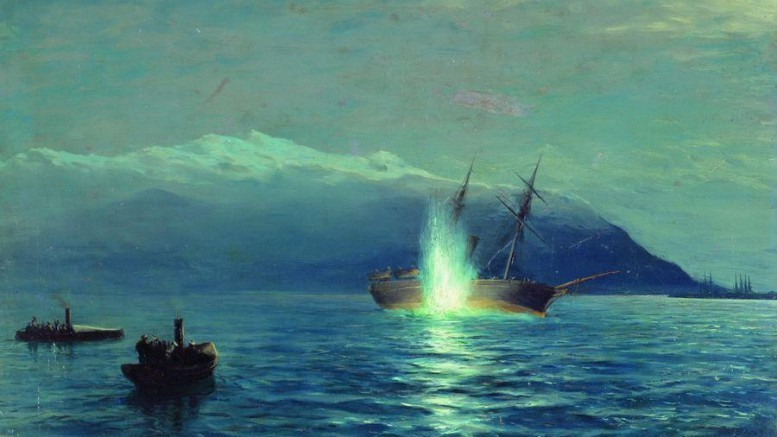 Потопление катерами парохода «Великий князь Константин» турецкого парохода «Интибах» на Батумском рейде в ночь на 14 января 1878 года. Лагорио Лев Феликсович.