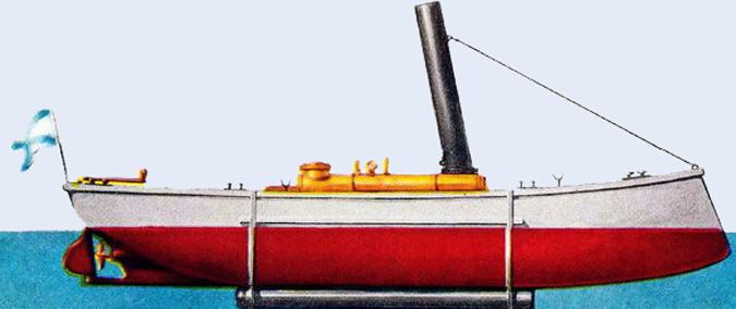Миноноска «Чесма» с подкилевой трубой