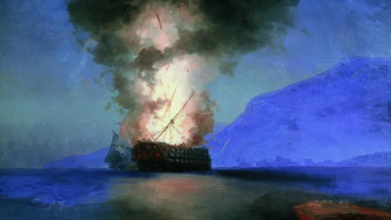 Иван Константинович Айвазовский — Взрыв турецкого корабля. 1900 г.