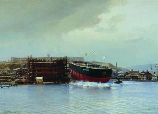 «Спуск на воду броненосного корабля «Чесма» в Севастополе. 1886 г.»