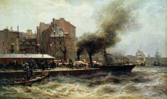 """Гавр. Вход в порт во время прилива"", 1876 г."