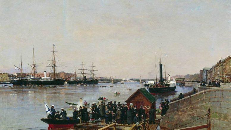 """""""Пристань на Неве"""". 1885 г."""