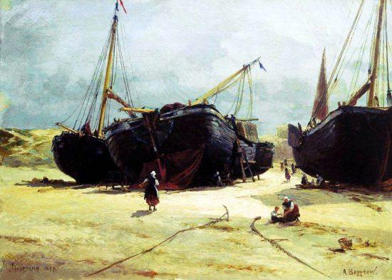 """""""Шевенинген. Починка рыбачьих судов.""""1877 г."""