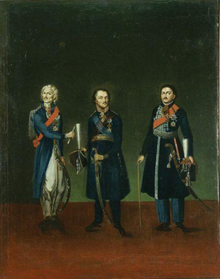 Тройной портрет: М.И. Платов, Ф.П. Денисов, В.П. Орлов.