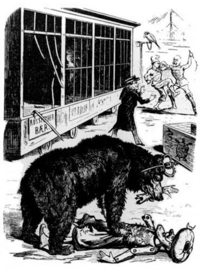"""""""В то время как два повздоривших охранника зверинца мутузили друг друга, а служба безопасности пыталась их утихомирить, русский медведь выбрался из клетки и растерзал дряхлого бедняжку - турка"""". Венская карикатура на русскую политику 1870 года."""
