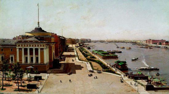 """""""Вид на Неву от Зимнего дворца"""", 1881 г."""