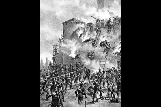 17-й егерский полк штурмует крепость Гянджа. Январь. 1804 г. Фото: репродукция/Родина