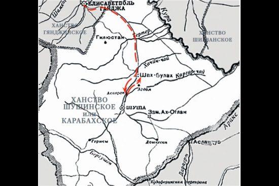 Схема продвижения отряда шефа 17-го егерского полка полковника Павла КарягинаФото: Родина