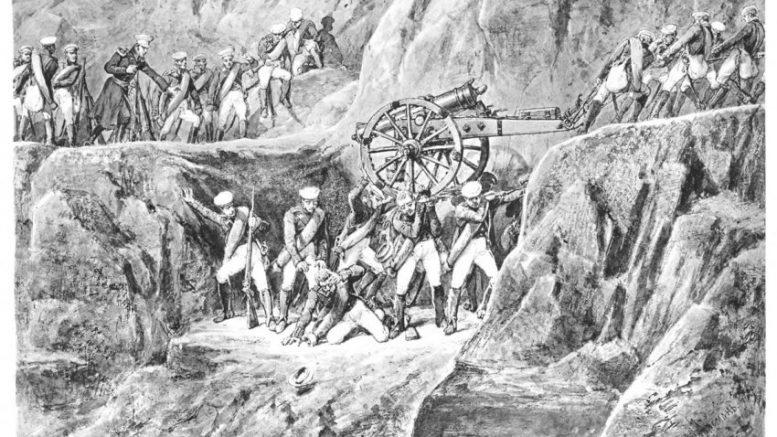 Живой мост. К сожалению, художник А. Шарлемань изобразил солдат и офицеров полковника Карягина в униформе, которой в 1805 г. еще не было. Офицерские эполеты появились только в 1807-1809 гг., фуражки - в 1811- м. Фото: Родина