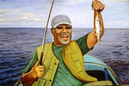 Автопортрет на рыбалке. х.м. 48х73. 2004г.