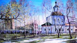 Владимирская церковь. Апрель. 65х91. 2016-г