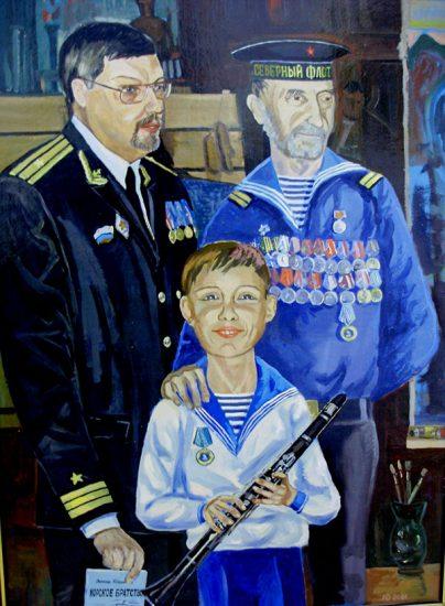 Картина Л.Юдникова «В мастерской у В.Корбакова» 85х55 карт. м. 2000г. (находится в ВОКГ). В марте 2017 г. выставлялась на 22-ой Международной выставке «Неделя искусств в Москве»