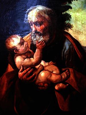 А. Борисов. Святой Иосиф с младенцем Иисусом (копия с картины Гвидо Рени), 1885 г., Музей Красноборска