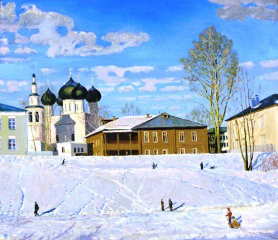 Мартовский денек в Заречье. Х.М. 100х110 (находится в ВОКГ)