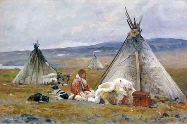 С картины А.Борисова «Чум ненца. Новая Земля», 1896 г.Из фондов Третьяковской галереи.