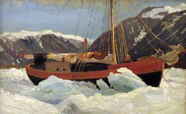 С картины А.Борисова «Судно во льдах (яхта «Мечта»)», 1900 г. Музей освоения Арктики имени А.А.Борисова в г. Архангельске.