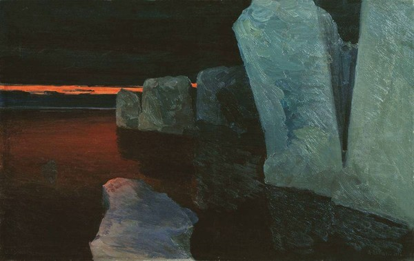 С картины А.Борисова «Страна смерти. Августовская ночь в Северном Ледовитом океане», 1913 г. Музей Арктики и Антарктики г. Санкт-Петербург