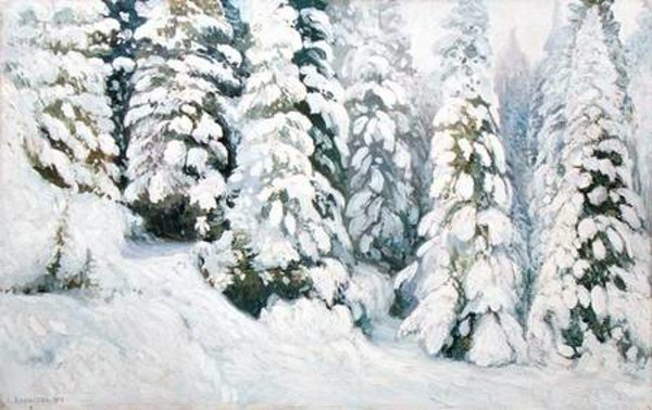 С картины А.Борисова «Зимняя сказка» из фондов Вологодской областной картиной галереи. 1913 г.