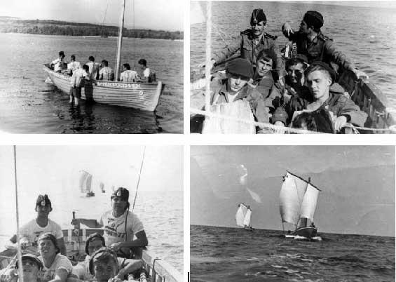 Слева – проверка такелажа; справа – идём под парусом по Днепру. Июль 1977 года. Под парусами в Каховском водохранилище. Июль 1977 года.