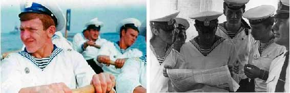 Слева – последние гребки перед приходом в Севастополь; справа – читаем заметку о нашем походе в газете Черноморского флота «Флаг Родины». Июль 1975 года.