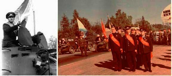Справа – команда КВО перед въездом в Одессу, слева – начальник команды на бронетранспортёре с символом эстафеты. Сентябрь 1977 года.