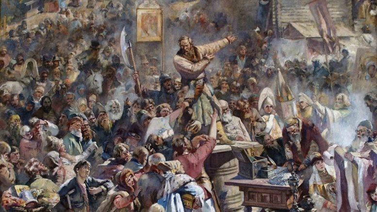 К.Е.Маковский. «Воззвание Минина» Фрагмент. 1896 г.