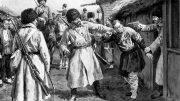 Русско-японская война 1904-1905: казаки ищут японских шпионов в Маньчжурской деревне.